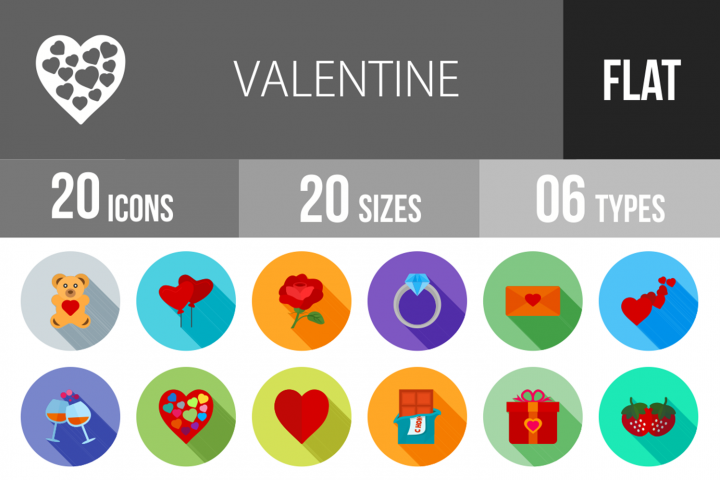 20 Valentine Flat Long Shadow Icons