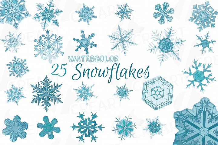 Watercolor snowflakes clip art, Hand painted snow crystals