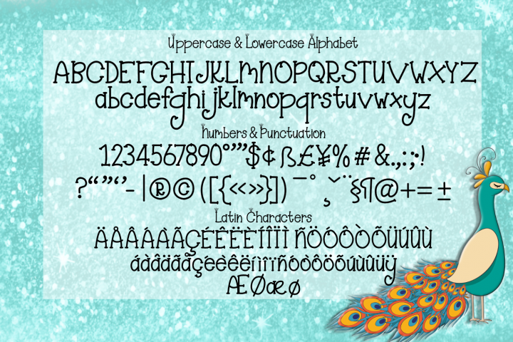 Majestic Peacock - a festive feathered font plus doodles - Free Font of The Week Design1
