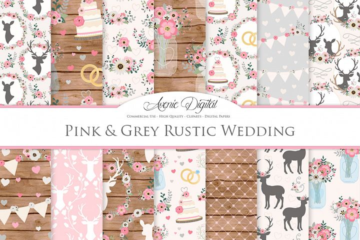 Pink and Grey Wedding Digital Paper - Gray and Pink Rustic Wedding Deer Seamless Patterns
