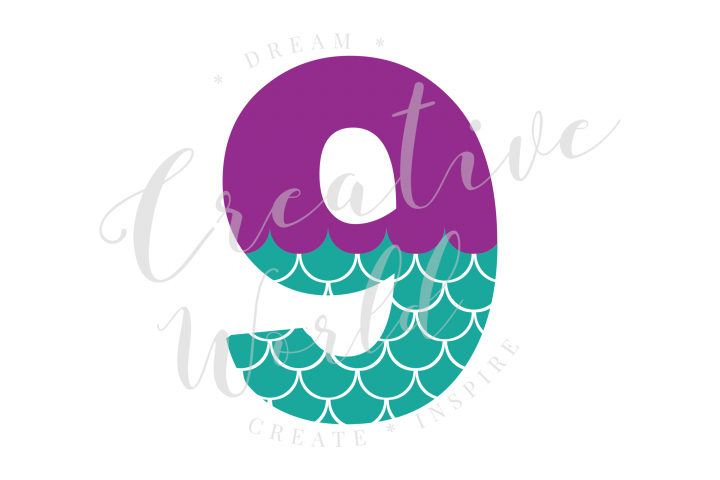 My 9th Birthday Mermaid SVG | Mermaid Birthday Girl svg