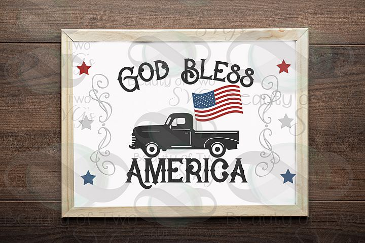 Vintage Truck God Bless America svg and png, Summer svg,