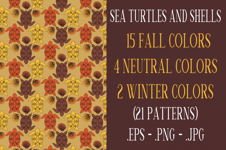 Sea Turtle and Seashells Fall Color Palette Seamless Pattern