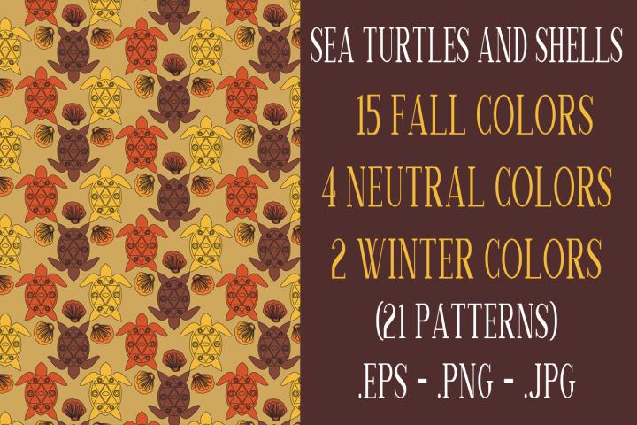 Sea Turtle and Seashells Fall Color Palette Seamless Pattern