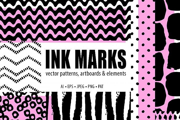 Abstract Brushstroke Ink Patterns, Artboards & Elements