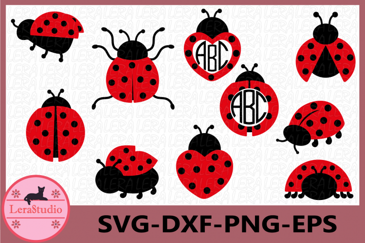 Ladybug svg, Ladybug Monogram Frames SVG, Ladybugs Svg