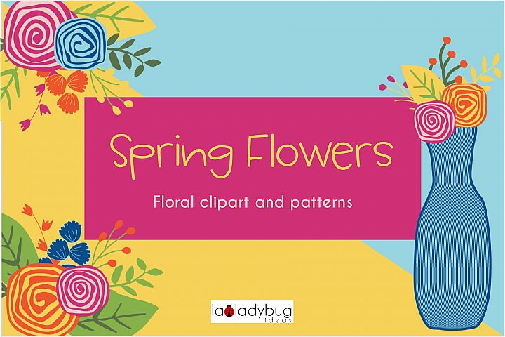Spring flowers. Clip art and digital papers collection.