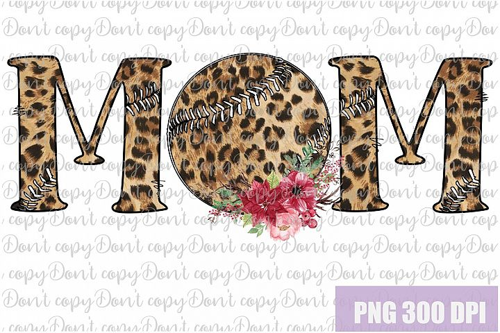 Baseball Mom leopard ball with Flowers Sublimation PNG example image 1