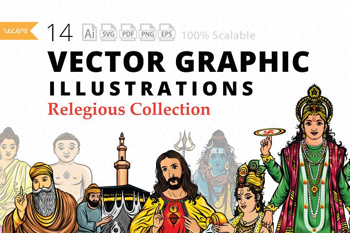 14 Vector Graphic Illustrations Pack of Relegious Collection
