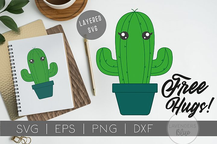 Cactus Quote SVG FREE HUGS| Layered | Hand Drawn | Clip Art