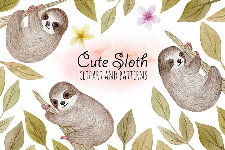 Cute Sloth. Watercolor Patterns