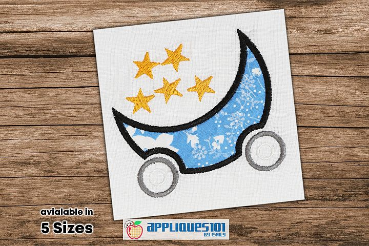 Moon Cartoon Trolley Embroidery Applique Design - Moon