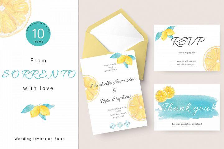Lemon Wedding Invitation Suite