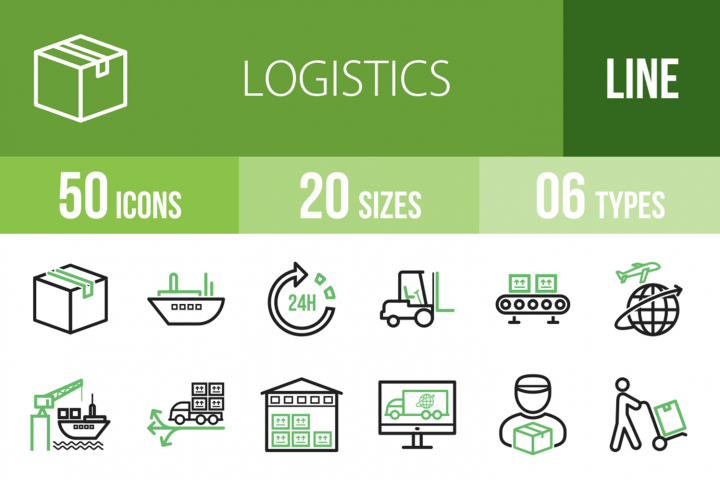 50 Logistics Line Green & Black Icons
