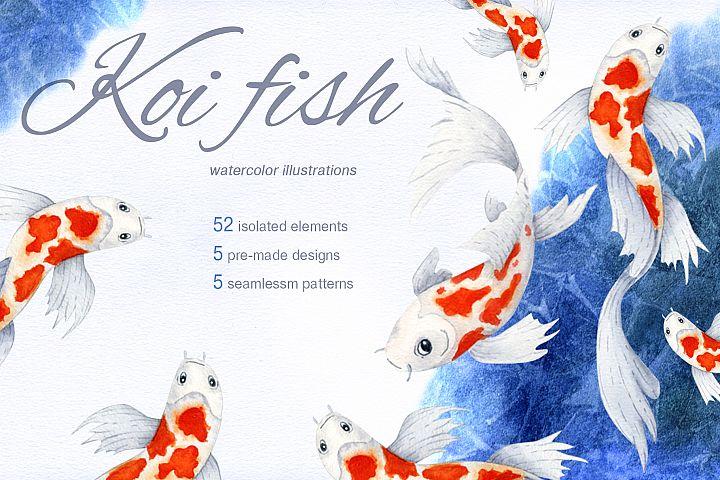 Koi fish. Watercolor set