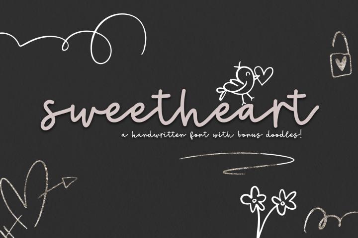 Sweetheart - A Handwritten Script Font & Doodles