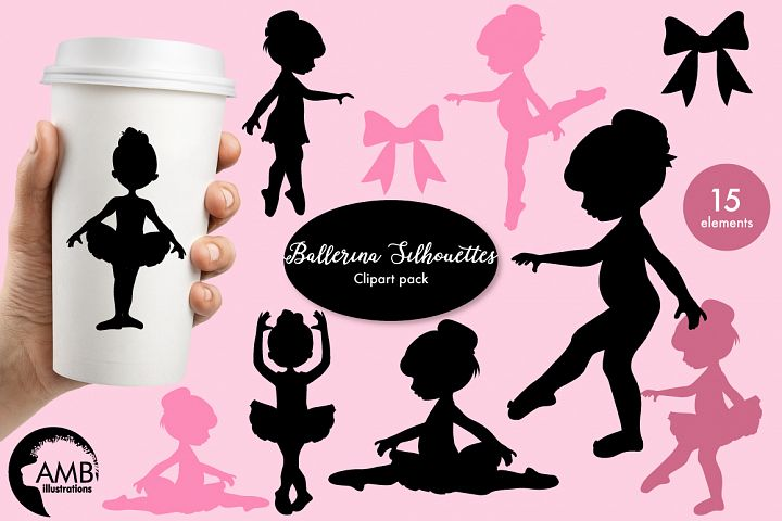 Ballerina silhouettes clipart, graphics, illustrations AMB-1584
