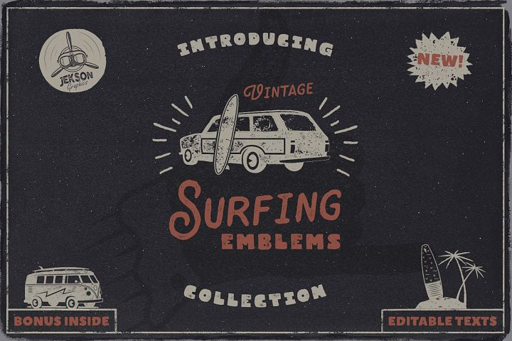 Summer Surf SVG Bundle Logo Vacation Cut Beach Free Bonus