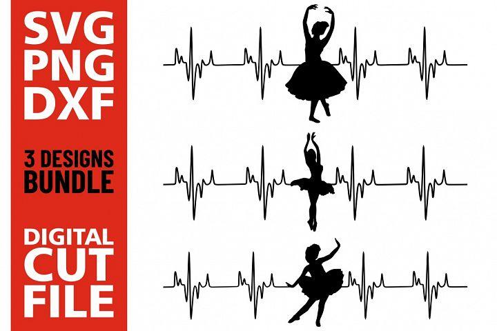 3x Ballet Dancers Lifeline bundle svg, Ballerina, Silhouette