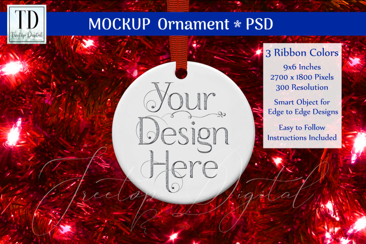 Round Christmas Ornament Mockup, Bauble Mock-Up, Reds, PSD