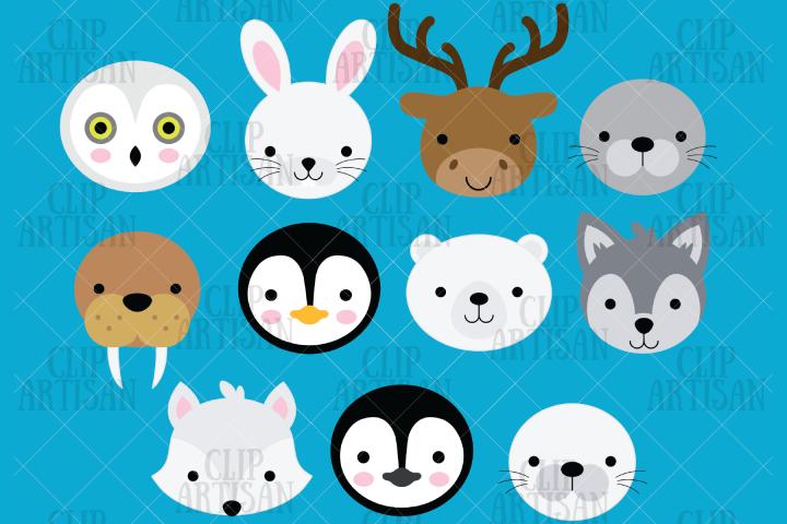 Arctic Animal Faces Clipart, Penguin, Seal, Polar Bear