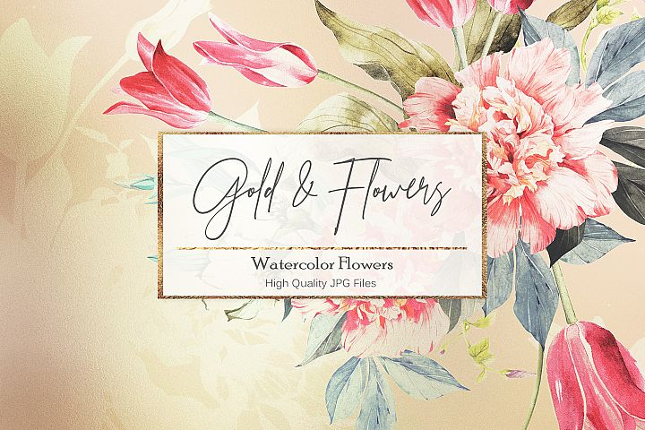 Watercolor Flowers Gold Backgrounds