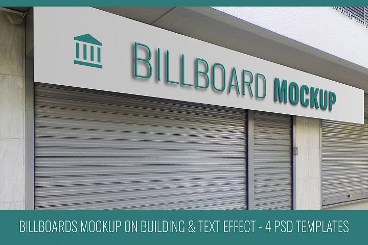Billboard Mockups on Building with Text Effect 4 PSD Files