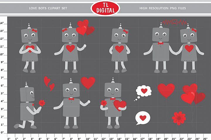 Love Robots Clipart Set - 13 Valentines PNG Graphics