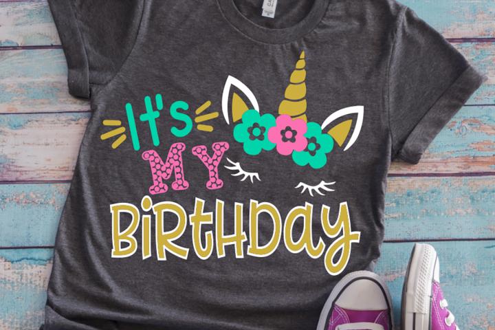 Birthday unicorn girl shirt svg