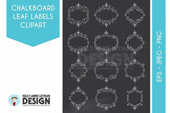 Chalkboard Swirl Digital Label Clipart, Digital Frame
