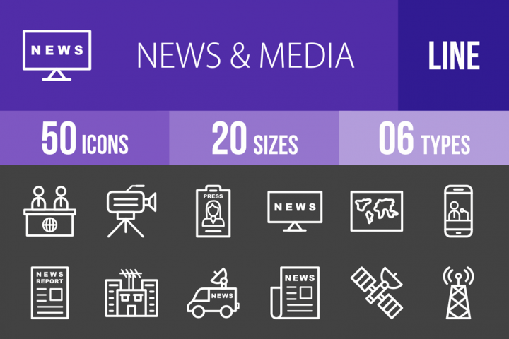 50 News & Media Line Inverted Icons