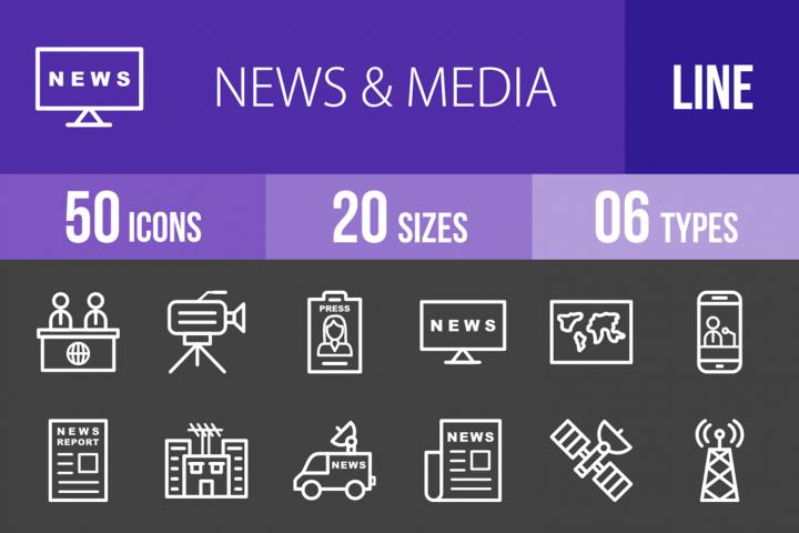 50 News & Media Line Inverted Icons