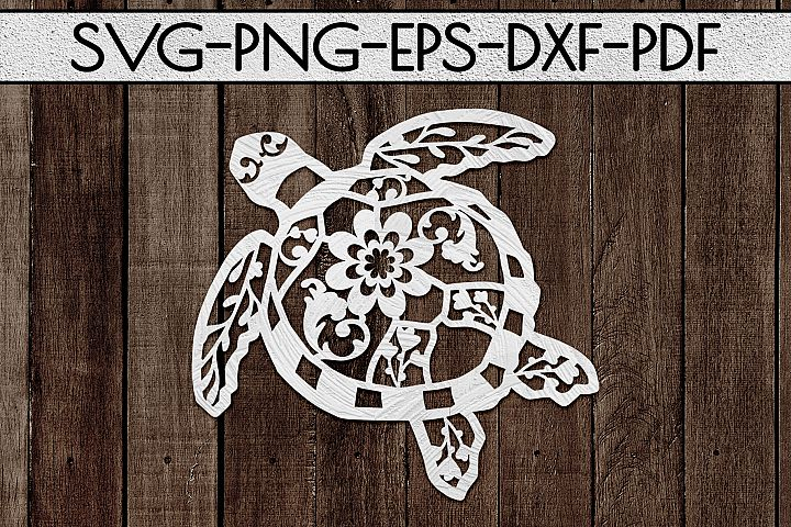 Floral Sea Turtle Paper Cut Template, Summer Beach SVG, PDF