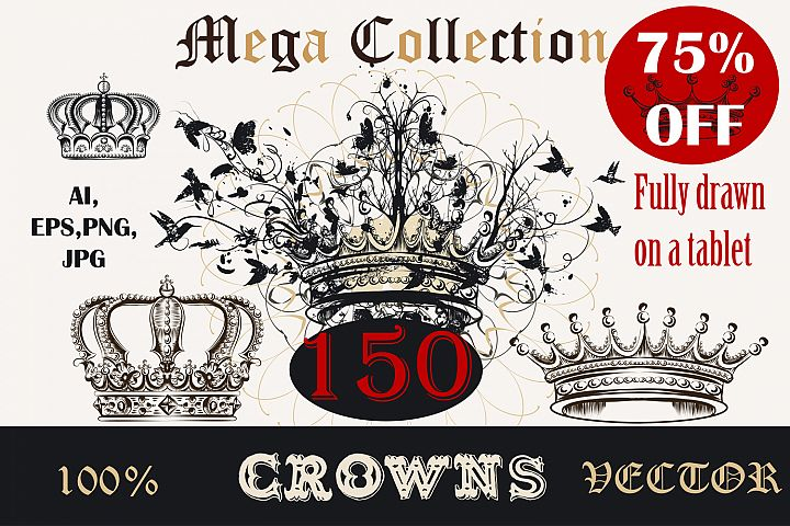 Vector bundle of hand drawn crowns in antique royal style