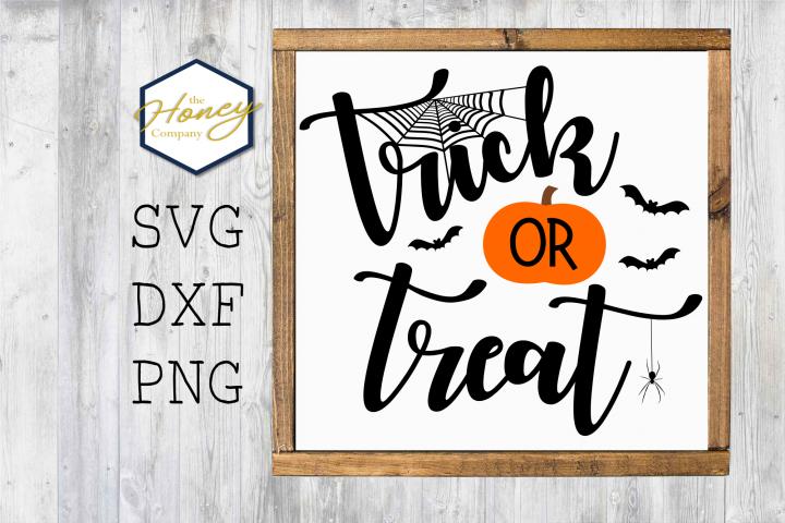 Trick or Treat Pumpkin SVG PNG DXF Halloween Sign Stencil