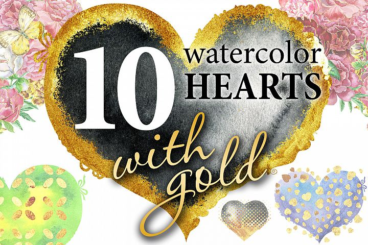 Watercolor hearts with gold