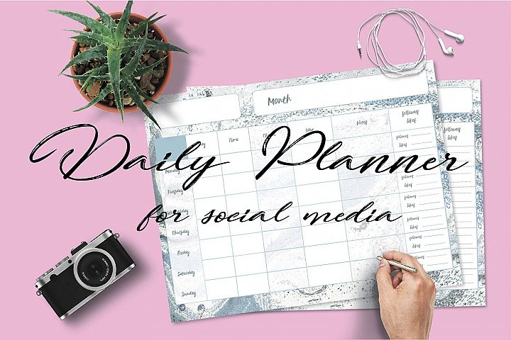 DAILY PLANNER for Social Media, Study, Work. To do List.