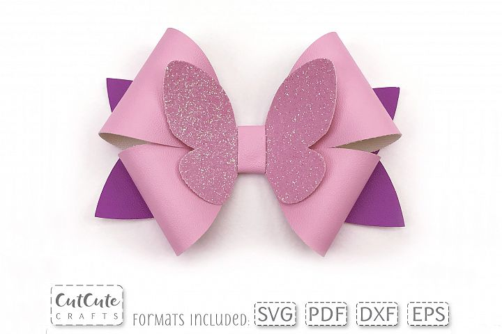 Cute Butterfly Bow SVG cut files, Hair Bow template