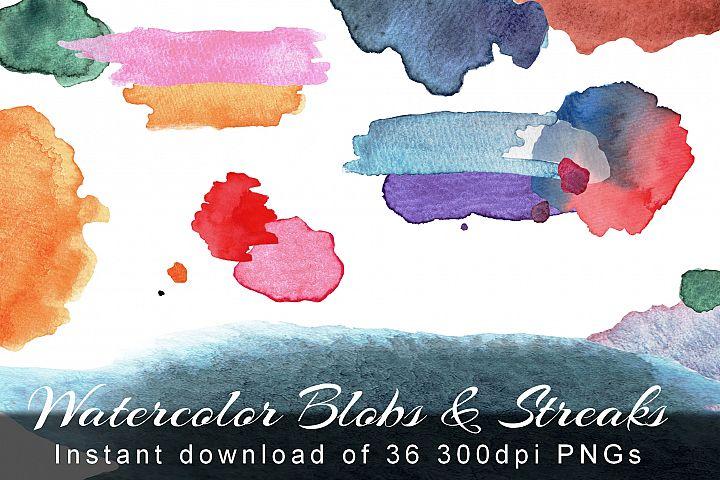 Watercolor Blobs and Streaks