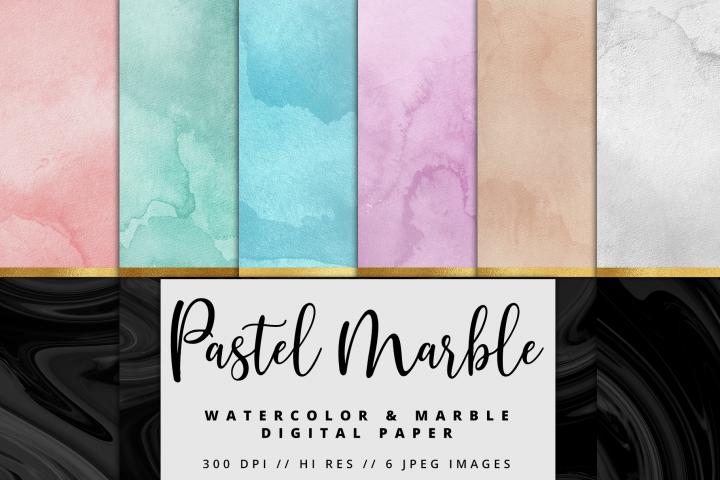 Pastel Black Marble Watercolor Foil Textures | 6 Pack