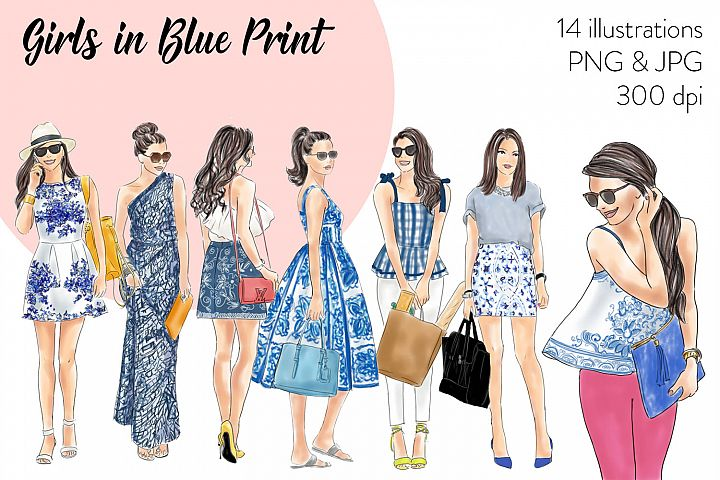 Girls in Blue print fashion illustration clipart