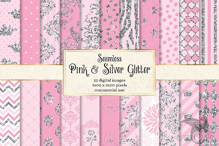 Pink and Silver Glitter Digital Paper