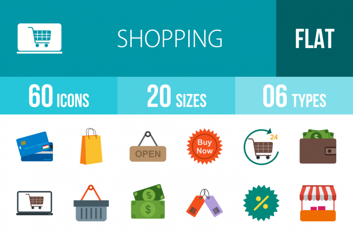 60 Shopping Flat Multicolor Icons