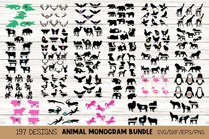 Animal Monogram SVG Bundle, 29 Packs in SVG, DXF, PNG, EPS
