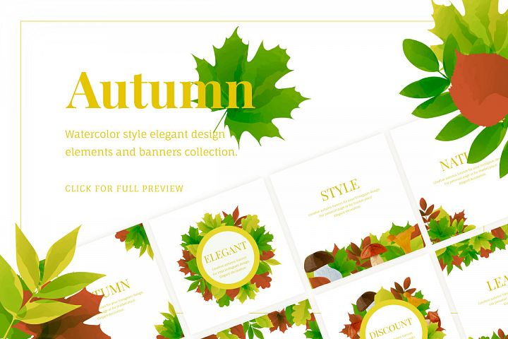 Autumn watercolor style vector collection.