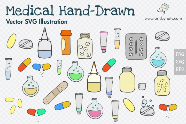 Medical Hand-Drawn SVG Vector Pack with 54 files.