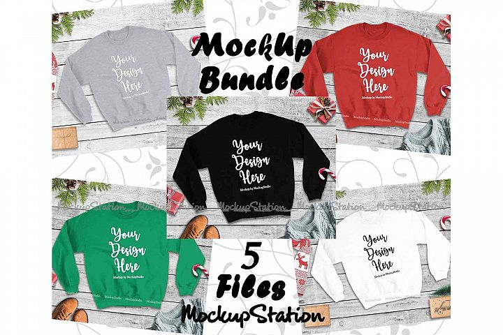 Christmas Winter Sweatshirt Mockup Bundle 5 Colors Set