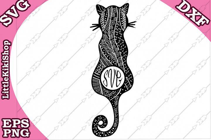 Zentangle Cat Monogram Svg,Mandala Cat Svg,Cat Monogram svg