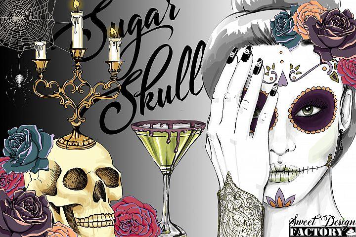 Sugar skull cliparts