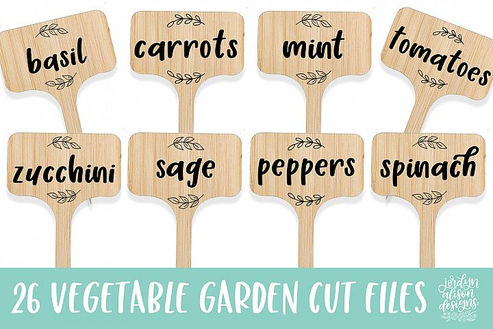 26 Vegetable Garden Labels/Flags, SVG Cut File Bundle